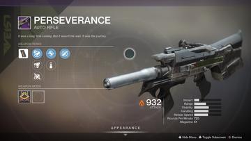 Perserverance Legendary Auto Rifle