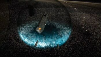 The Dreadnaught's superweapon, dealing the decisive blow on the Awoken fleet